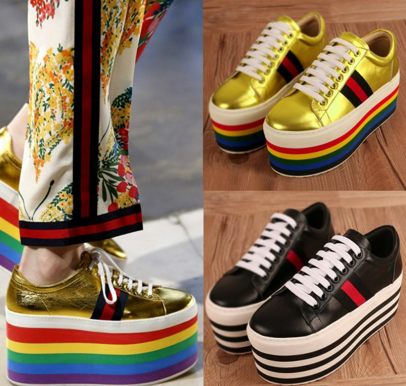 Zapatos de tacón alto para para para mujeres Con Cordones MultiColor Arco Iris Creepers Plataforma De Tacón Alto loafes Wi  compra limitada