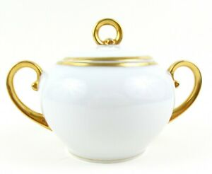 Austria Imperial PSL Empire China White Sugar Bowl Trimmed With Gold Paint