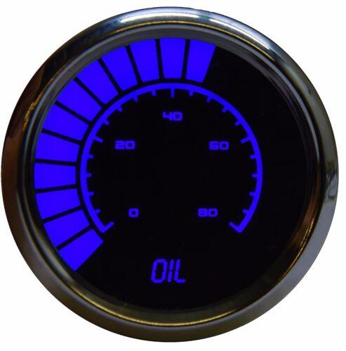"2 1//16/"" Universal Analog Oil Pressure Gauge Blue LEDs Chrome Bezel Made In US"