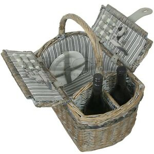 Zq  Fashionable Washed Wicker Picnic Basket For  People Ebay