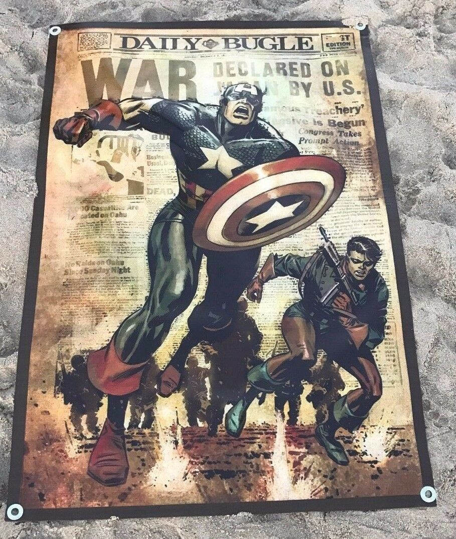 Captain America shield figure action poster poster poster world war II newspaper banner A97A fcc28e