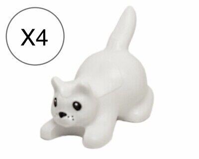 Lego X4 White Cat,Crouching w// Black Eyes,Nose,Whisker Dots Pattern Animal Pet