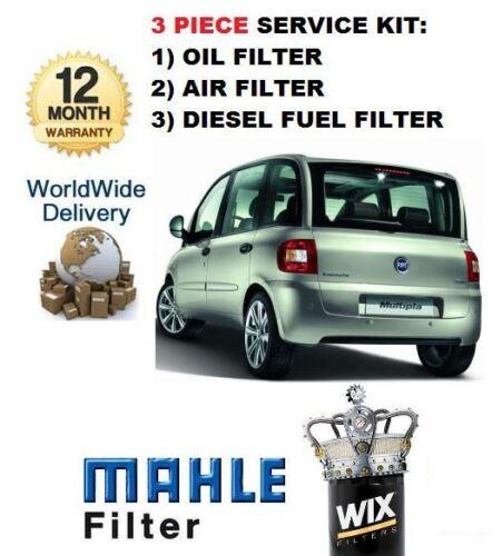 Para Fiat Multipla 1.9 Jtd 2//2006 /& Gt 3 Piezas Kit De Servicio Aceite Aire Filtro De Combustible Kit