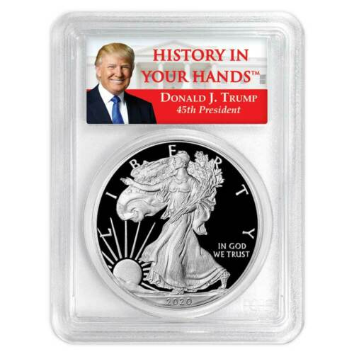 2020-W Proof $1 American Silver Eagle PCGS PR70DCAM First Strike Trump Label