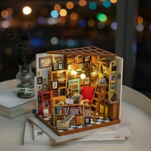 Details about ROBOTIME DIY Dollhouse Library Miniature Books Store Kits  Wooden Dollhouse 1:24