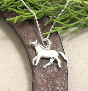 HORSE JEWELLERY JEWELRY 925 STERLING SILVER 3D HORSE NECKLACE