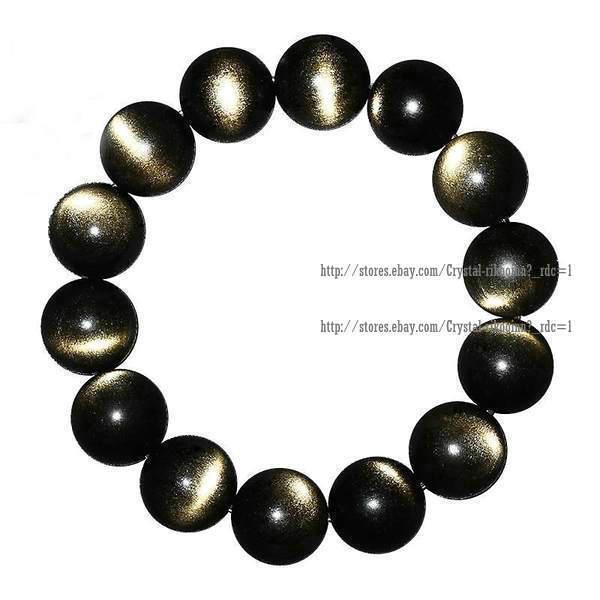 Natural gold Obsidian Gemstone Round Beads Bracelet 8mm10mm12mm14mm16mm18mm