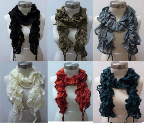 WHOLESALE lot of 12 PCS Brand New Stylish Elegant Warm Lace Stretch Scarf