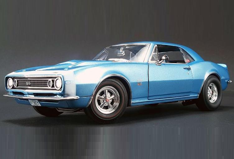 Acme 1 18 Chevrolet 1967 Nickey Camaro 427 ss Diecast Modelo Coche blu A1805706