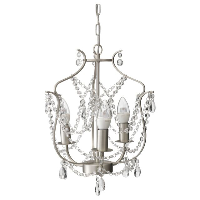 IKEA Kristaller Chandelier Crystal Armed Silver Ceiling - Crystal chandelier ikea