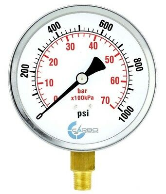 "1/4""npt Lower Side Mnt 1000 Psi Be Shrewd In Money Matters Chrome Plated Steel Case Responsible 4"" Pressure Gauge"