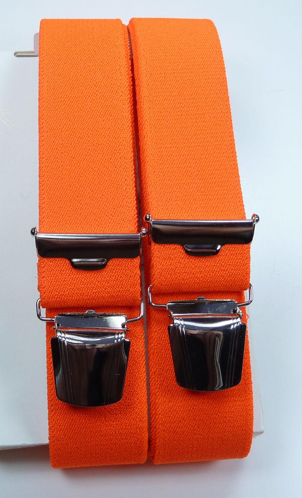 fester Hosenträger,neonorange, starke,stabile breite Klips,35mm breit,120cm lang