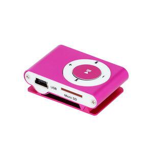 Kleiner-kompakter-MP3-Player-microSD-Slot-bis-32GB-Kopfhoerer-Headset-Pod-Pink