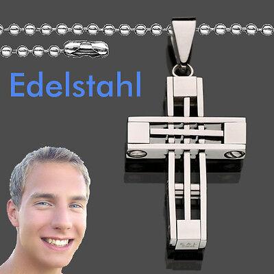 Edelstahl Männer Design Kreuz Anhänger 20,5 X 35,5 Mm Mit Kugel Kette 60 Cm Neu Gutes Renommee Auf Der Ganzen Welt