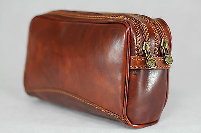 Genuine Real Italian Leather Dopp Travel Toiletry Kit Bag CarryAll Vintage Brown
