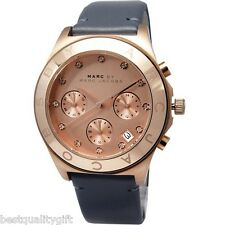NEW-MARC JACOBS BLADE ROSE GOLD,GRAY LEATHER CHRONOGRAPH,CRYSTALS WATCH-MBM1188