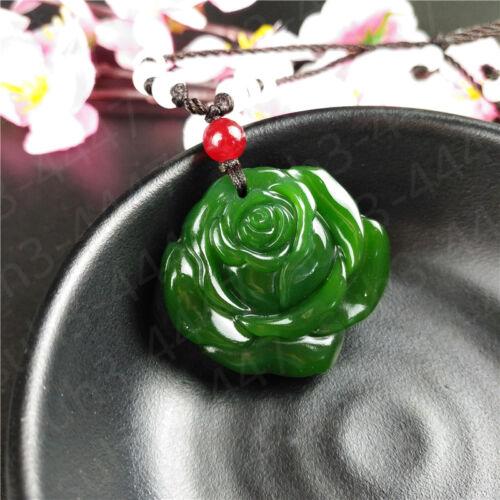 Wholesale Vert Chinois Jade Rose Collier Pendentif Mode Charme Bijoux Amulette