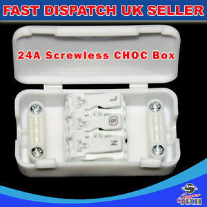 3 pole screwless junction box 2a 24a 240v terminal block inline wire rh ebay ie Junction Box Wiring Diagram Example of Wiring Junction Box