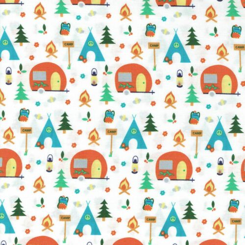 Fabric Freedom Camping 100/% Cotton Fabric FQ Crafting Quilting Patchwork Yellow