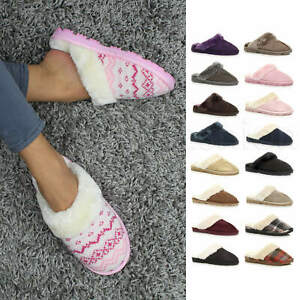 WOMENS-LADIES-FLAT-FUR-LINED-COMFORTABLE-WINTER-MULES-SLIPPERS-HOUSE-SHOES-SIZE