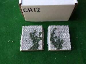 2x - Z Scale Gauge- - Bridge Abutment Single Track Rustic Stone Style Foliage