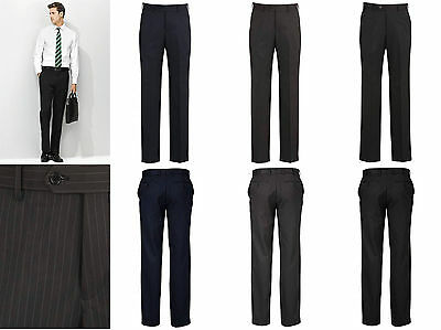 Biz Corporate Mens Flat Front Pant 70212 | Cool Stretch PINSTRIPE, Formal