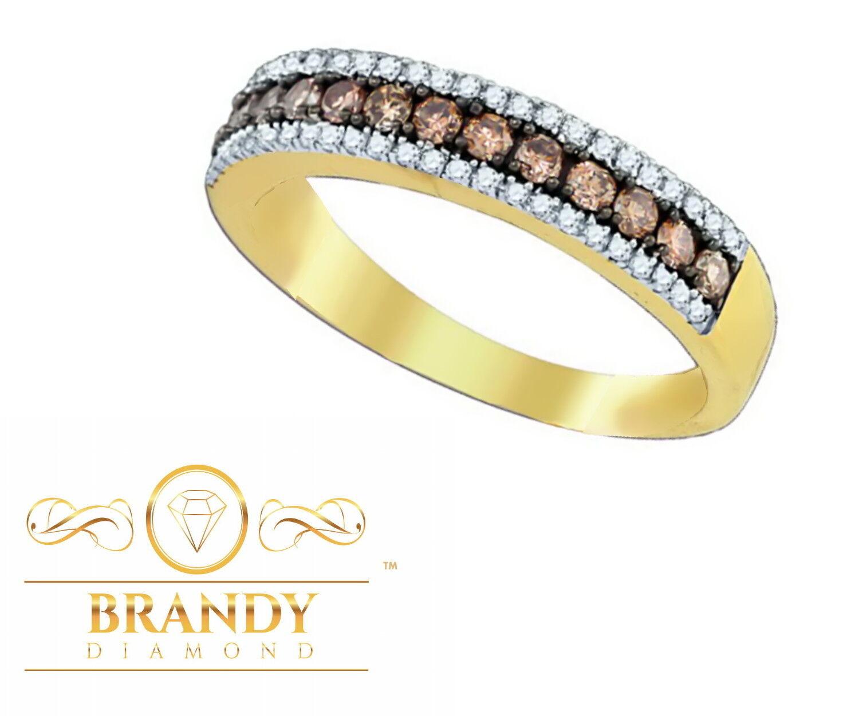 Brandy Diamond® Chocolate Brown 14K Yellow gold Luxurious Eternity Ring .69 Ct