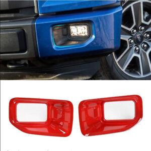 2pcs ABS Car Front Fog Light trim cover frame for Ford mustang 2015-2017 Red