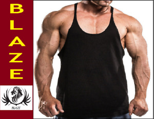 THE BLAZZE (PACK OF 2) MENS STRINGERS GYM TANK TOP vest VESTS FOR MEN - BLACK