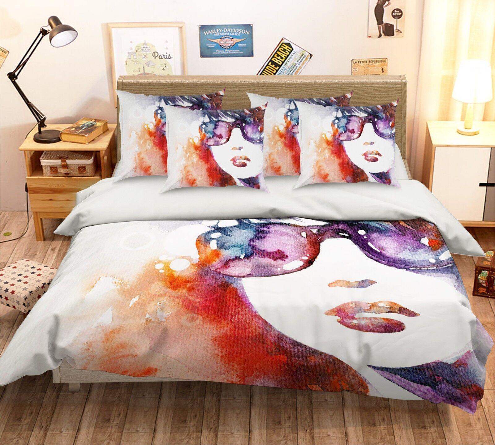 3D Girl Paint 53 Bed Pillowcases Quilt Duvet Cover Set Single Queen King AU Cobb