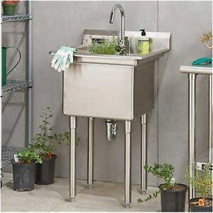 commercial kitchen utility sink w/faucet, indoor/outdoor