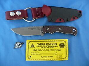TOPS-20th-Anniversary-Tex-Creek-Knife-154CM-Red-Black-Carbon-Fiber-USA-Made