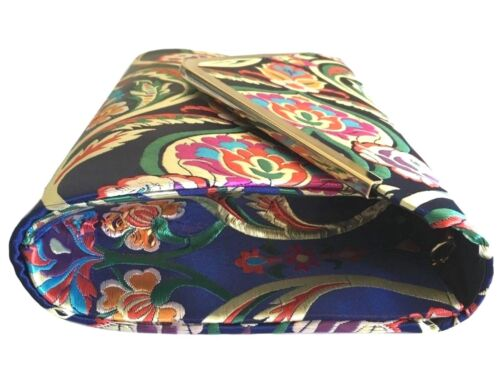 Navy Blue Clutch Bag Satin Pink Floral Evening Bag Shoulder Bag Ladies Handbag