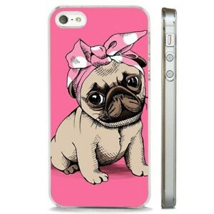 watch 84b40 c9561 Details about Pug Cute Puppy Dog Pink CLEAR PHONE CASE COVER fits iPHONE 5  6 7 8 X