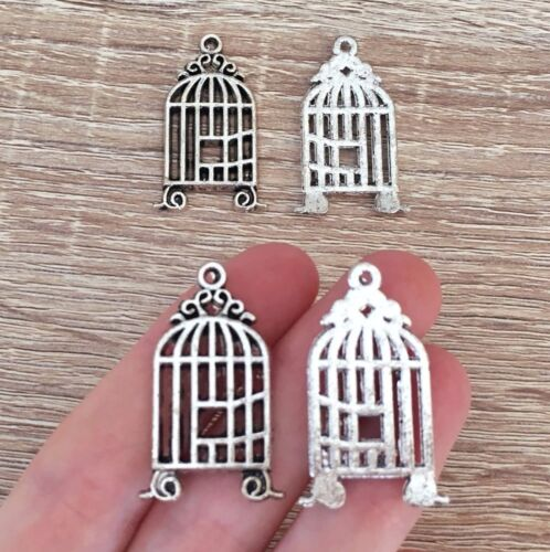 10//20//30 Pcs Antique Silver Bird Cage Charms Birdcage Pendant Freedom Jewelry