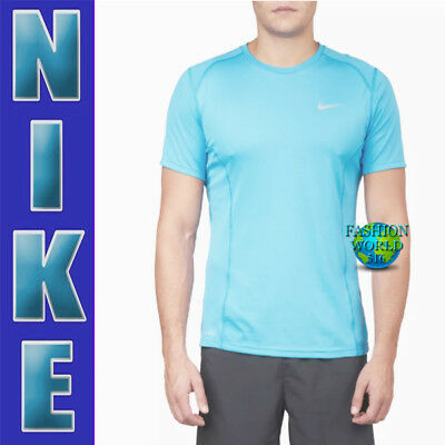 Nike Men's Size Medium Dry Dri Fit Miler Running Top UPF +40 872021 432 Blue 888411440116 | eBay