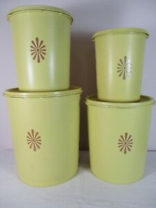 Vtg TUPPERWARE Gold Canister Set with Lids Mid Century Plastic Kitchen Collect