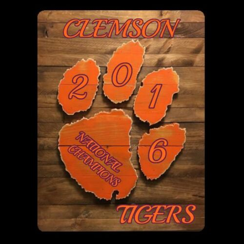 CLEMSON TIGERS 2016 National Champions Metal Sign 3D Wood Look-Mancave Bar Grill