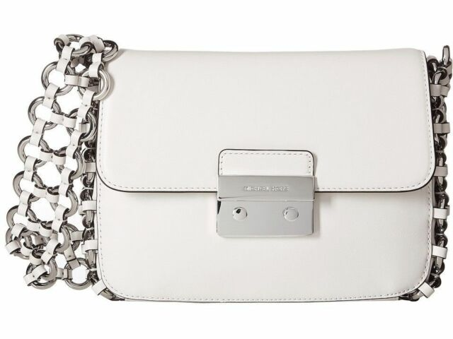 Michael Kors Piper Large Flap Optic White Leather Shoulder Bag