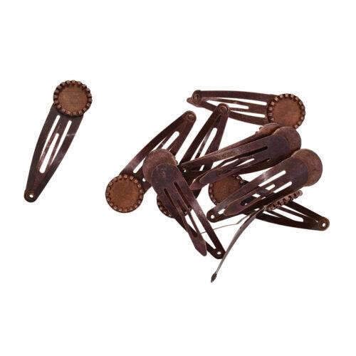 10pcs Blank Snap Hair Clips Bezel Settings Tray Base Jewelry Findings Brown