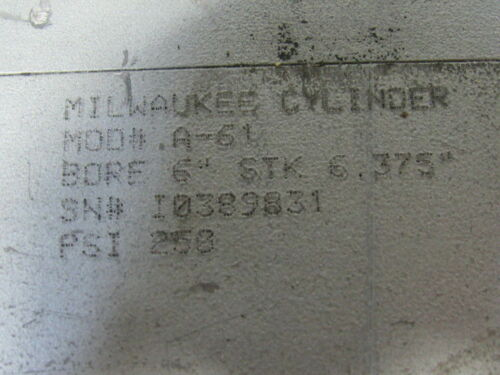 """Milwaukee A-61 Pneumatic Cylinder 6/"""" Bore X 6-3//8/"""" Stroke 6-3//4/"""" Extended Rod"""