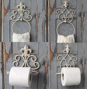 Portarrollos-de-dorso-blanco-antiguo-anillo-de-toalla-Vintage-Chic-Frances-cuarto-de-bano