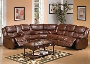 3pc Motion Sectional Sofa Set Brown Bonded Leather Sofa Loveseat W Console Wedge
