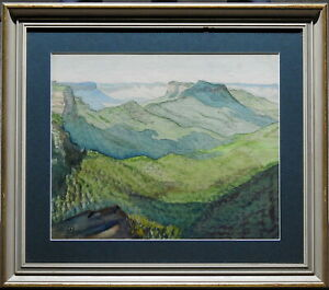 Signed-1920s-Vintage-Original-Painting-Sunlit-Bluffs-Majestic-Blue-Mountains-NSW