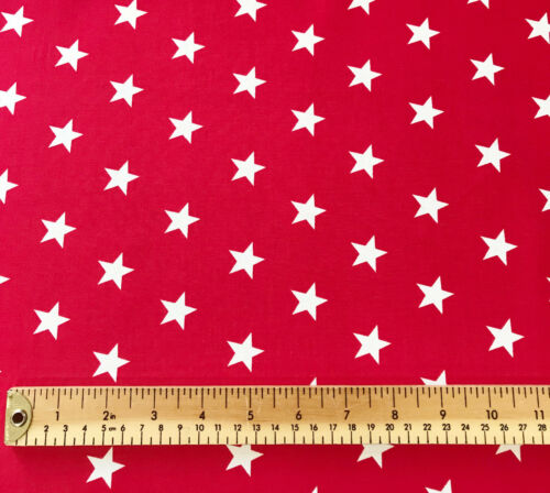 1 Metre Red with White Stars Rose /& Hubble Cotton Poplin Fabric Material