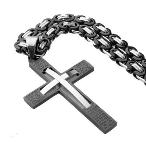 Silver Black Bible Grand Pendentif Croix En Acier Inoxydable Byzantine Collier Hommes Cadeau