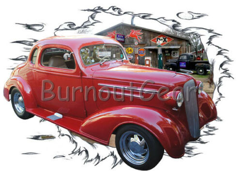 1936 Red Chevy Coupe b Custom Hot Rod Garage T-Shirt 36 Muscle Car Tees