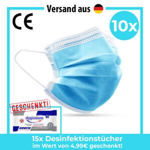 Mundschutz Maske 3-lagig Atemmaske Mund Nasen Schutz Einweg Atem Gesichtsmaske