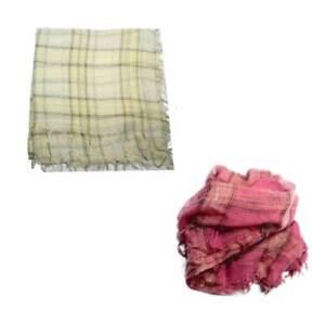check-out b508f abf89 Dettagli su Foulard di lana fine bianco o fucsia a quadri ampio in lana  leggera uomo doona