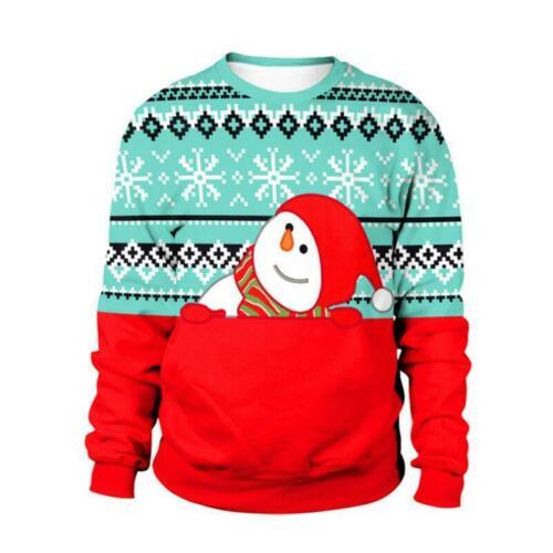 Noël Noël Femmes Pull Jumper Top Snowflake à manches longues Chemisier Sweatshirt